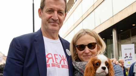 Alastair Campbell, his partner Fiona Millar and their dog Skye join pet owners to take part in an an