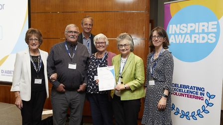 Secretary Ann Prescott and chairwoman Debbie Broom with members of Havering's diabetes group after t
