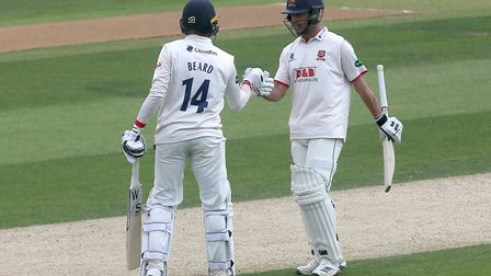 Aaron Beard and Ryan ten Doeschate of Essex enjoy a useful partnership against Yorkshire in the Coun