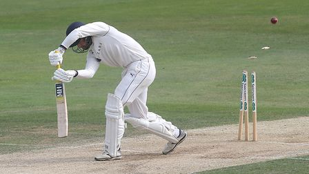 Will Fraine of Yorkshire is bowled out by Essex's Peter Siddle in the County Championship Division O