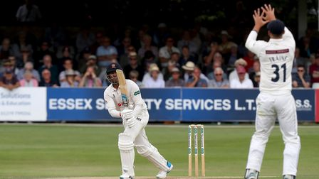 Rishi Patel of Essex watches the ball sail towards Will Fraine during Essex CCC vs Yorkshire CCC in