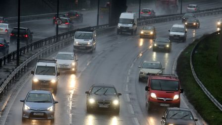 Traffic in rain on the A406 in South Woodford. Picture: Ken Mears