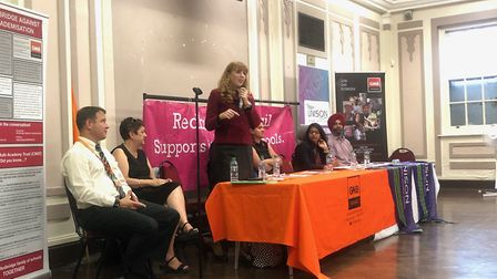 The panel of speakers at Redbridge Town Hall, speaking on school cuts and academisation. Picture: Im