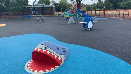 The new play area at Loxford Park has climbing units, see saws, swings and even a 3D shark. Picture: