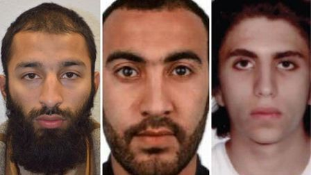 L-R: Khuram Shazad Butt, Rachid Redouane and Youssef Zaghba. Picture: Met Police