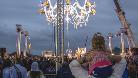 The Greenwich and Docklands International Festival closing ceremony featured a giant chandelier with