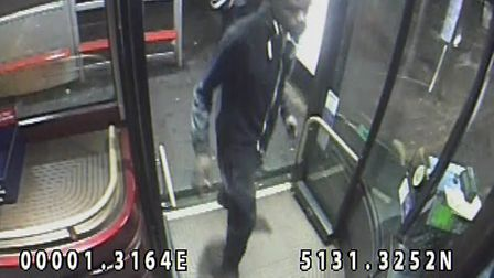 Detectives would like to speak to the man pictured. The image was captured on a bus in Plaistow shor