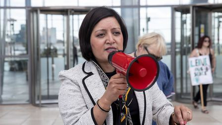 Newham mayor Rokhsana Fiaz spoke to the protesters, but said she has no power to intervene in the te