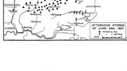 The path of the 1897 hailstorm, taken from EE Wilde, Ingatestone and Great Essex Road (1913).