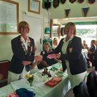 Christina Allen of Upminster Bowls Club is presented with her county badge
