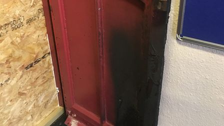 The door on the Vaughan Road side of St Matthew's was set alight after two previous arson attempts a