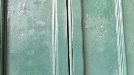 Doors at St John's Church in Stratford have been vandalised. Picture: Andrew Brookes.