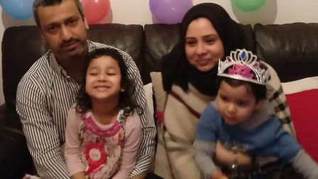 Shahida with her husband, Mohammad, and children: Maryam, six, and three-year-old Amaan. Picture: Mo