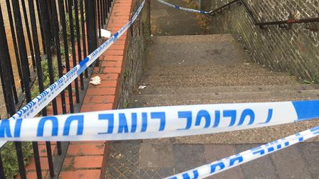 The alleyway has been cordoned off after a stabbing. Picture: Jon King