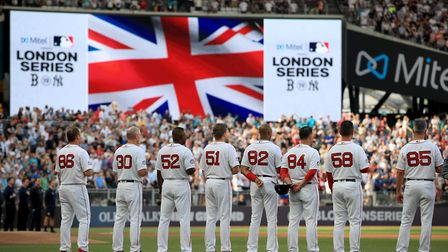 Boston Red Sox during the MLB London Series Match at The London Stadium.