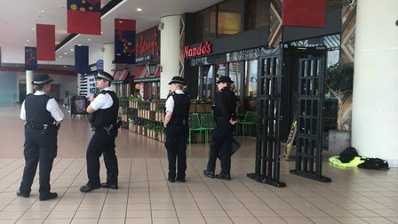 The Romford town centre police team used a knife arch outside the McDonalds in The Brewery on Thursd