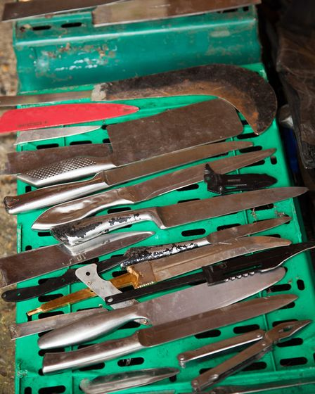 A selection of knives taken off Newham's streets. Picture: Tara Martin Photography