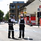Police have cordoned off part of West Ham Lane after a man was stabbed in nearby Whalebone Lane in t