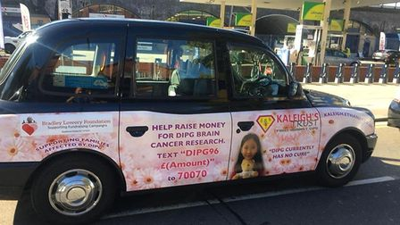 The black cab raising awareness of Kaleigh's Trust and her legacy. Picture: Scott Lau