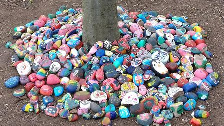 The colourful rocks that Ray Lodge pupils painted to mark Kaleigh's birthday. Picture: Scott Lau