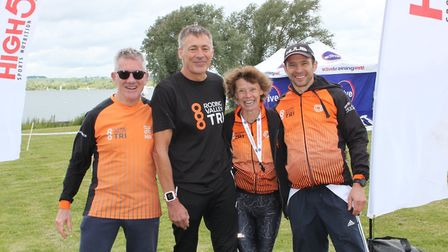 From left to right are Roding Valley Tri members Peter Exton, Jeff Cowling, Karen Cole and Andy Bour