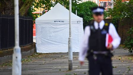 Police at the scene of the stabbing. Picture: Victoria Jones/PA Wire