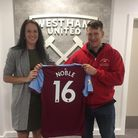Sarah and Mat Nice were given a West Ham shirt during their visit. Picture: London's Air Ambulance C
