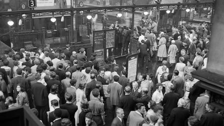 Liverpool Street Station in 1959 after a thunderstorm stopped the trains running. Picture: PA