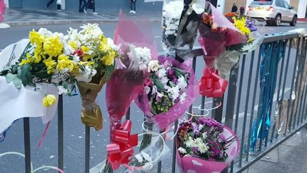 A shrine in memory of Ch� Morrison outside Ilford Station in Cranbrook Road. Picture: Aaron Walawalk