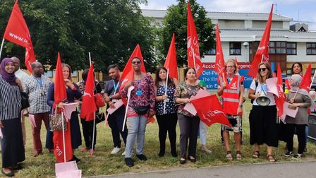 Staff from BHRUT's pathology department protesting at King George Hospital, the proposed changes to