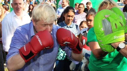 Boris Johnson on a visit to Stratford Park. Picture: Isabel Infantes