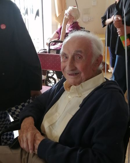 Morris Scoop celebrated his 100th birthday with family and staff at Gable Court Care Home in Roxy Av