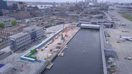 A terminal under construction at King George V Dock. Picture: City Airport.