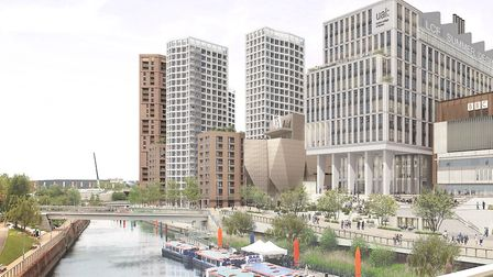 An artist impression of the Stratford Waterfront development viewed from the London Aquatics Centre.