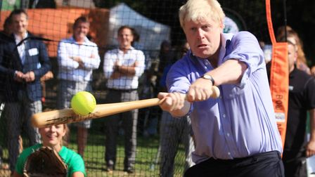 The Mayor of London Boris Johnson plays some baseball in east London. Picture: Isabel Infantes