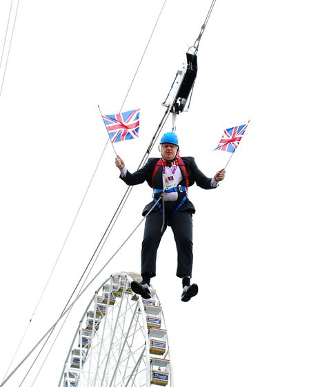 Mayor of London Boris Johnson in the zip line at BT London Live Victoria park. Picture: Isabel Infan