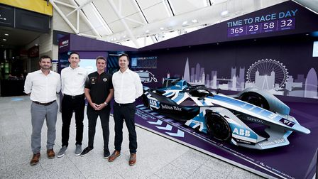 ExCeL's head of live events Damian Norman, Jaguar team principal James Barclay, Nissan driver Oliver