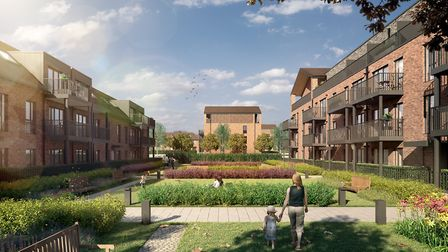 Designs of the courtyard gardens of Bellway Homes' plans for the housing development on the former S