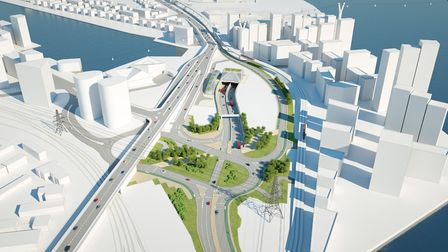 A CGI of the Silvertown Tunnel from the Silvertown side. Picture: TfL
