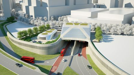A CGI of the Silvertown Tunnel from the Greenwich end. Picture: TfL