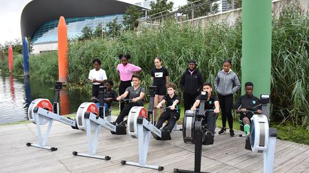 Active Row participants try out the rowing machines. Picture: Georgia Boyd.