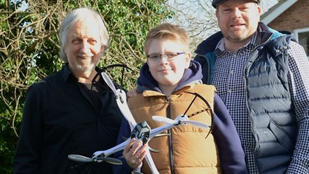 Ron Bagley with father and son Mark and Max Thurston. Picture: Supplied