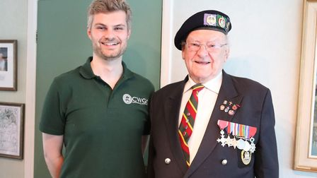 Veteran Ken Hay with CWGC's assistant historian Max Dutton. Picture: CWGC