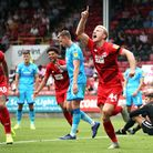 Leyton Orient's Josh Wright celebrates scoring his side's first goal during the League Two match aga