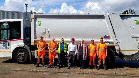 Leader of the council with the bin collection team.Picture: Redbridge Council