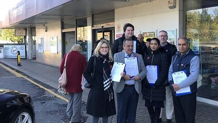 Hornchurch and Upminster MP Julia Lopez with councillors and residents campaigning for step-free acc