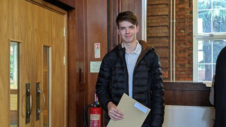 Thomas O'Grady celebrates his three A* stars and will go on to study physics at Durham. Picture: Adr