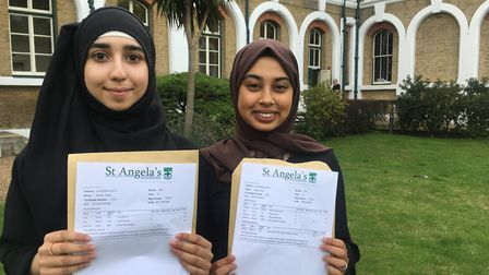 L-R: Aribah Aftab is planning to go to City University while Samia Rob is hoping to get to King's Co