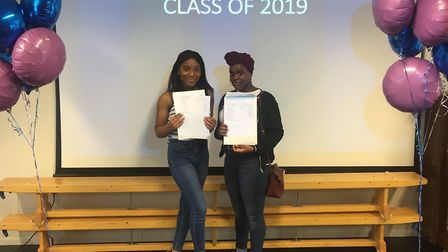 Flourish Olumese and Thara Sekabanja were pleased with their GCSE results.Picture: Oasis Academy Sil