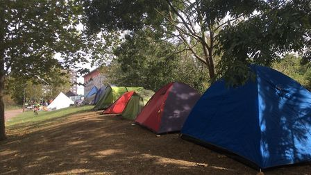 Activists' tents outside the ExCeL. Picture: Luke Acton